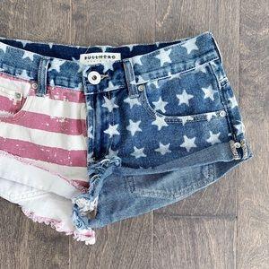 Bullhead Shorts - Bullhead Slouchy American Flag Frayed Jean Shorts